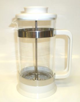 8 Cup PYREX White Plastic French Coffee/Tea Press