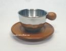 Double Wall 6.5oz Cappuccino Cup / Wood Saucer Set 2 - HOT DEAL