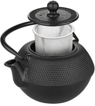1 1/4 lts Hobnail Cast Iron Black Tea Pot