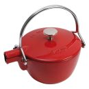 Staub 1 Qrt Cherry Red Cast Iron Tea Pot