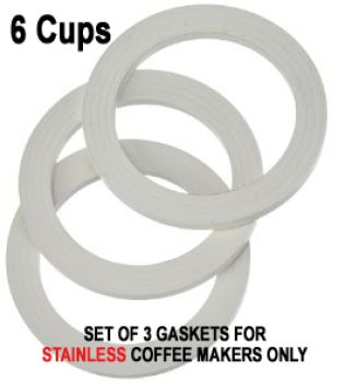 Replacement 6 Cups Gaskets for STAINLESS Coffee Makers