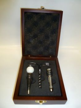 3 Piece Golf Theme Wine Gift Set in Mahogany Wood Box - TODAY'S HOT DEAL
