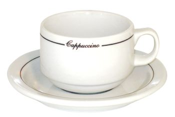 Straight Shape Black Line Cappuccino Cups - Set of 6