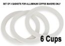 6 Cups Replacement Silicone Gaskets for Aluminuim Coffee Makers
