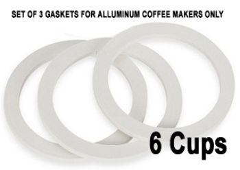 Replacement 6 Cups Silicone Gaskets for Aluminium Coffee Makers