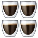 Italian 2 oz Espresso Double Wall Glass Cups Set of 4