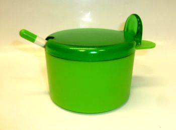 Juypal 400ml Plastic Sugar Bowl with Spoon Green