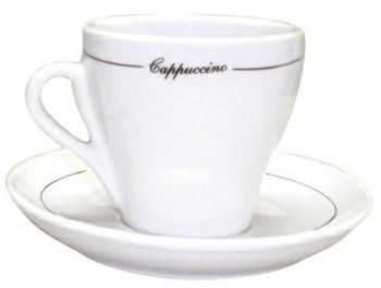 Pear Shape Black Line Cappuccino Cups - Set of 6