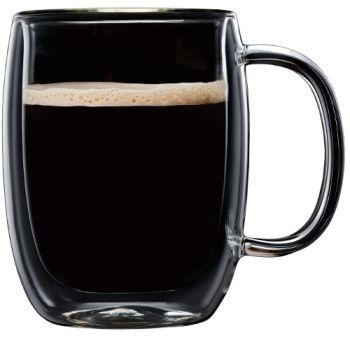 Barista Plus 12.3 oz Americano Double Wall w/Handle Glass Cups Set of 2