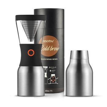 Asobu 8 Cups - 40 oz Cold Brew Insulated SILVER Brewer