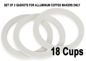 Bialetti 18 Cups Replacement Gaskets for Aluminuim Coffee Makers