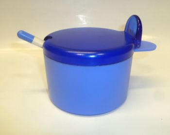 Juypal 400ml Plastic Sugar Bowl with Spoon Blue