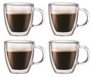 Italian 2.5 oz Espresso Double Wall w/Handle Glass Cups Set of 4