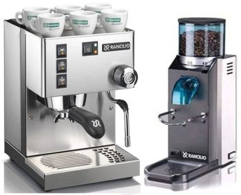 Rancilio Silvia M and Rocky Doserless Grinder Combo with FREE COFEE