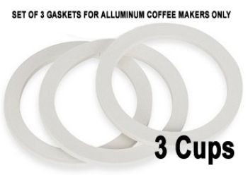3 Cups Replacement Silicone Gaskets for Aluminuim Coffee Makers