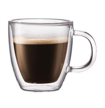Barista 2.5 oz Espresso Double Wall w/Handle Glass Cups Set of 2