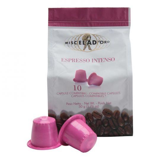 miscela d oro intenso compatibles nespresso capsules de caf boite de 10 creative coffee. Black Bedroom Furniture Sets. Home Design Ideas