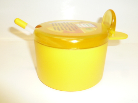 Juypal 400ml Plastic Sugar Bowl with Spoon Yellow
